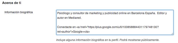 Codigo rel=author Google+